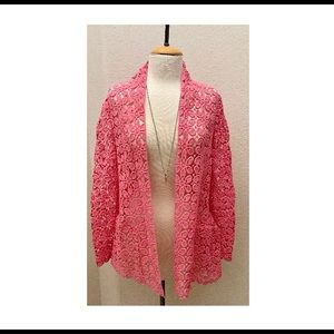 Neiman Marcus Coral Open Front Floral Cardigan.